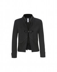 COSSACK: Clip front pinstripe and plain jacket