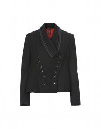 COMMANDER: Black wool swing jacket