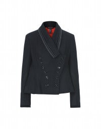 COMMANDER: Navy wool swing jacket