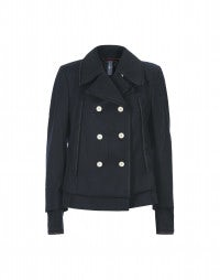 MARINER: Double layer drape navy jacket