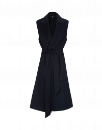 EMULATE: Sleeveless coat in midnight and black cashmere