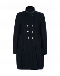 PROVERB: Double breasted stand collar coat with skirt hem