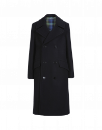 ORIGINATE: Double breasted overcoat in navy wool