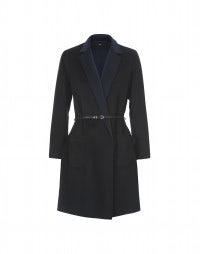 MELODRAMA: Black and navy double face short coat