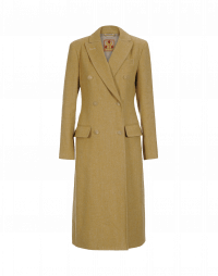 ACQUAINT: Double breasted coat in mustard wool linen