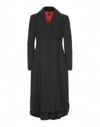 CAVALLIER: Long black wool coat