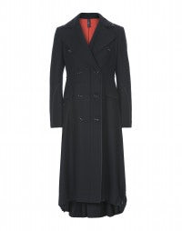 CAVALIER: Long navy wool coat