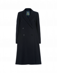 IN AWE: Navy blue coat with rib detail on sleeve