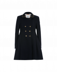 ARISTOCRAT: Cappotto in panno blu navy con colletto decorato