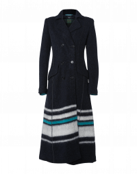 SCRUPULOUS: Long double-breasted coat in navy, ivory and teal jersey