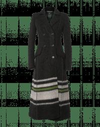 SCRUPULOUS: Long double-breasted coat in green ivory stripe jersey