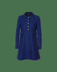 PEEP: Fit and flair coat in royal blue tweed