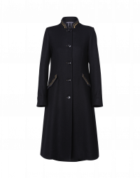 ALLUSIVE: Navy coat with braid details