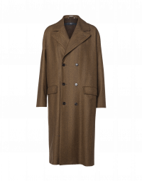 IN BALANCE: 3/4 overcoat in brown herringbone