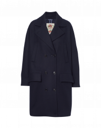 TUMULT: Double breasted cocoon coat in navy wool