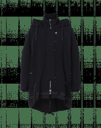 REVELLER: Navy hooded parka-coat in technical jersey