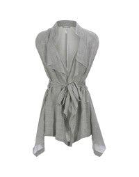 LANYARD: Grey waterfall front waistcoat