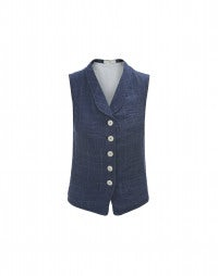 POSH: Blue ghost check rinse linen waistcoat