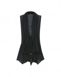 IMPLICATE: Blue shawl front wool gilet