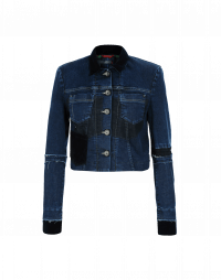 BRAVADO: Short denim jacket with velvet collar and cuffs