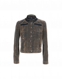 TACTICAL: Pale brown flock denim jacket with treatment