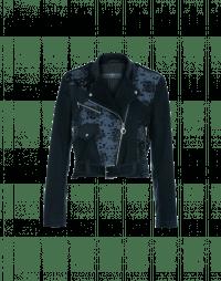 BAUHAUS: Navy flock floral denim and twill biker style jacket