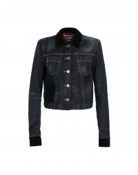 BRAVADO: Short denim jacket with velvet collar and cuffs