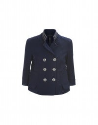 PUNCTUAL: Blue twill cropped jacket