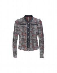 PIER: Metallic check bouclé denim jacket
