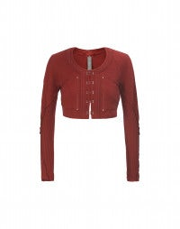 SINBAD: Red cropped knit bolero