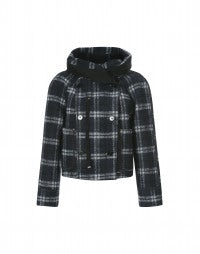SOLANO: Navy tartan short hooded coat