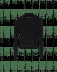 SHAMAL: Shawl collar jacket black wool mix jersey