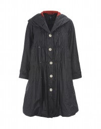 WINDLASS: Waxed washed linen overcoat with hood