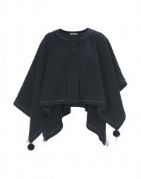 CAPPELLA: Navy wool poncho-cape
