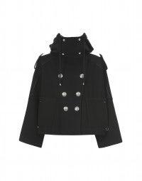 BLUSTER: Black wool hooded short coat