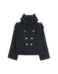 BLUSTER: Navy wool hooded short coat