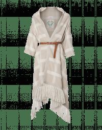 TRANSVERSE: Giacca a scialle a quadri beige e crema