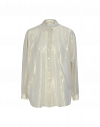 LUCENT: Turn down collar shirt in cream and gold metallic