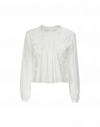 DICTION: Round neck shirt in pleated cotton and silk and lace