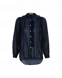 TIMID: Ruffle front shirt in navy plain and self stripe voile
