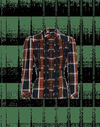 PRONOUNCE: Camicia in rayon scozzese navy, ocra e bianco con pizzo