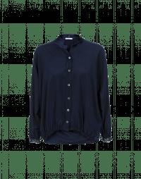 ARIA: Wide cut deep sleeves top in navy blue silk satin