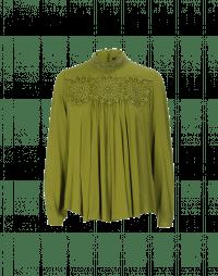 DELIGHFUL: Camicia a collo alto con pizzo verde salvia