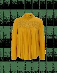 DELIGHFUL: Camicia a collo alto con pizzo color zafferano