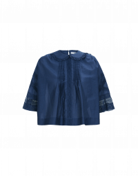 AWAKE: Top blu con pieghe frontali