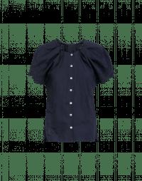 YELP: Camicia blu con ricamo e maniche ad aletta