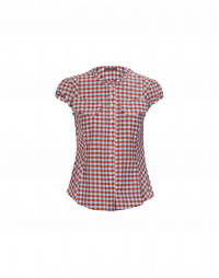 DUO: Cap sleeve red and white gingham shirt