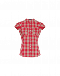 DUO: Red and tan gingham shirt