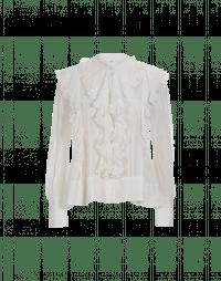 LIVELY: Camicia in seta e cotone rigato con balze