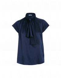 SPARK: Short sleeve top with tie collar in navy satin